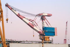 Quay crane. In a industrial landscape Stock Image