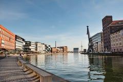 Quay creativo, porto del canale del nster del ¼ di MÃ in Westfalen fotografie stock libere da diritti