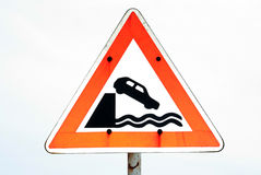 Quay Danger Sign. Warning Sign of quayside drop Stock Photos