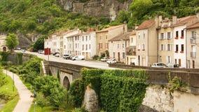 Quay dans la ville de Cahors Image stock