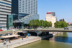 Quay of Danube canal in Vienna Stock Image