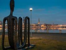 Quay of Daugava river in Riga, Royalty Free Stock Images