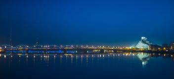 Quay of Daugava river in Riga, Stock Photo