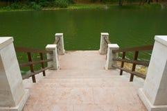 Quay de piedra del lago de madera Imagen de archivo libre de regalías