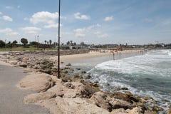 Quay de Tel Aviv durante la resaca Imagen de archivo