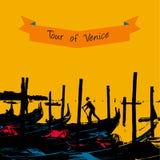 Quay des gondoles s'approchent de la San-marque de secteur à Venise illustration libre de droits