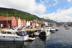 Quay in dock with boats at coastal Bergen town Stock Photography