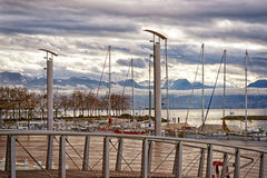 Quay of Geneva lake and Motblanc view  in Lausanne Stock Photo