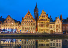 Quay Graslei in Ghent town at evening, Belgium Royalty Free Stock Photo