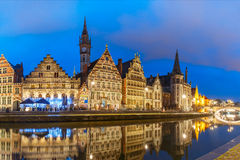 Quay Graslei in Ghent town at evening, Belgium Royalty Free Stock Images