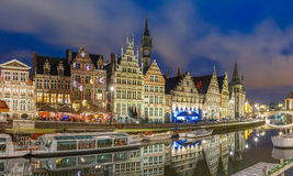 Quay Graslei in Ghent town at evening, Belgium Royalty Free Stock Photos