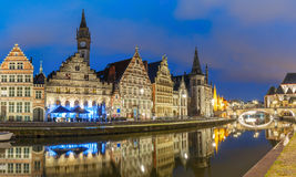 Quay Graslei in Ghent town in the evening, Belgium Stock Image