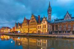 Quay Graslei in Ghent town at morning, Belgium Stock Photography