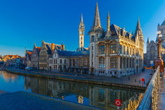 Quay Graslei in Ghent town at morning, Belgium Stock Image