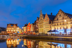 Quay Graslei in Ghent town at morning, Belgium Stock Photo