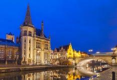 Quay Graslei in Ghent town at night, Belgium Stock Photos