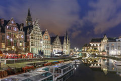Quay Graslei in Ghent town at night, Belgium Stock Photography