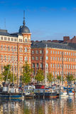 Quay Helsinki miasto z cumującymi statkami Obraz Stock