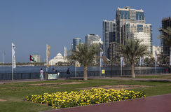 Quay Khalid Lagoon and Al Noor Mosque (Al Noor Mosque). Sharjah. United Arab Emirates Royalty Free Stock Images