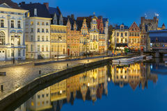 Quay Korenlei in Ghent town at evening, Belgium Stock Photo