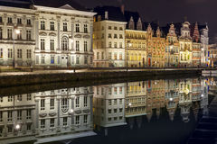 Quay Korenlei in Ghent town at night, Belgium Stock Images