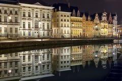 Quay Korenlei in Ghent town at night, Belgium Stock Images