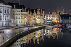 Quay Korenlei with reflections in Ghent town at night, Belgium Royalty Free Stock Image