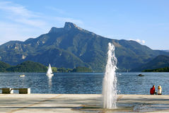 Quay Lake Mondsee in Austria Stock Image
