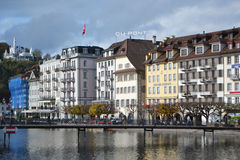Quay in Lucerne, Switzerland. Royalty Free Stock Photos