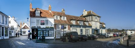 The Quay in Lymington, UK. Panoramic view of The Quay in the town of Lymington, New Forest, Hampshire, UK royalty free stock image