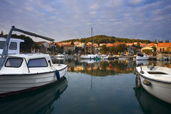 Quay of mediterranean town Starji Grad Stock Photos