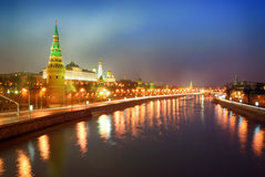 Quay Moskva River. Kremlin Royalty Free Stock Photos