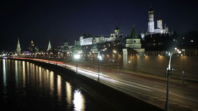 Quay near the Moscow Kremlin. Night time lapse with motion blur. stock video footage