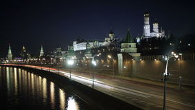 Quay near the Moscow Kremlin. Night time lapse with motion blur. Stock Images