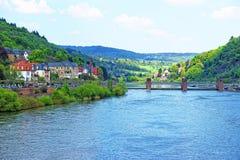 Quay of Neckar river and bridge in Heidelberg in Germany Stock Image