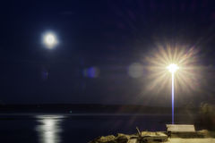 Quay nella scena di notte di St Paul della baia Fotografie Stock
