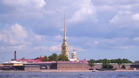Quay of the Neva near the Peter and Paul Fortress stock footage
