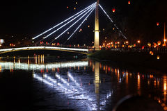 Quay night city Kharkiv Royalty Free Stock Photography