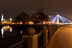 Quay night city Kharkiv Royalty Free Stock Image