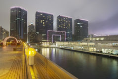 Quay in night of Hong Kong Stock Photography