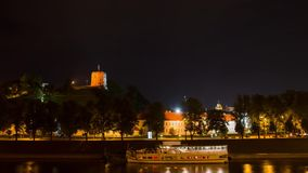 Quay at night Vilnius, time-lapse. Quay at night Vilnius, Lithuania hyper time-lapse stock video footage