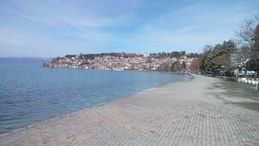 Quay of Okhrid lake in Okhrid royalty free stock images