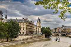 Quay Orfevr and the bridge Saint Michel Royalty Free Stock Photography