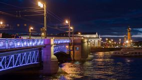 Quay a panorama in St. Petersburg at night stock video