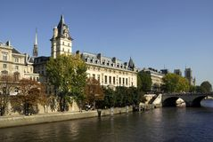 Quay of Paris. With the river Seine and cathedral Notre Dame in the background Stock Photos
