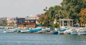 Quay of Pomorie on the sea side, Bulgaria Royalty Free Stock Image