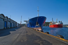 On the quay in the port of halden Stock Photo