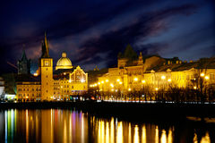 Quay Prague. Beautiful night landscape Royalty Free Stock Image