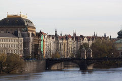 Quay Prague in the rays of the autumn evening sun Royalty Free Stock Photography