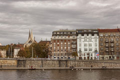 Quay Prague view from the river boat Stock Photography